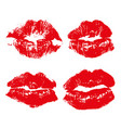 set imprint kiss red lips isolated on white vector image
