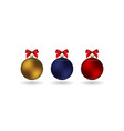 set of 3 christmass balls with ribbon hanging on a vector image