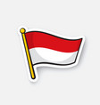 sticker flag indonesia on flagstaff vector image