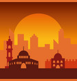 sunset in jerusalem jewish symbol city buildings vector image