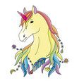 unicorn colorful print vector image vector image