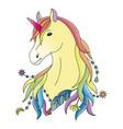 unicorn colorful print vector image