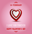 Valentine poster with red white hearts template vector image vector image