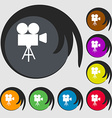 Video camera icon Symbols on eight colored buttons vector image vector image