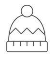 winter hat thin line icon clothes and accessory vector image vector image