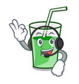 with headphone green smoothie mascot cartoon vector image vector image