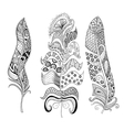 Zentangle stylized elegant feathers set Hand vector image vector image