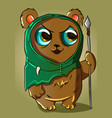 adorable cute bear in a green elf costume vector image vector image