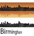 Birmingham skyline in orange background vector image vector image