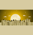 buildings background in a golden moonlight vector image vector image