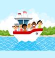 children on the boat vector image vector image