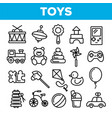 children toys linear thin icons set vector image
