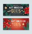christmas and new year gift voucher vector image vector image