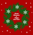 christmas card with wreath vector image vector image
