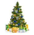 Christmas Tree with Blue Decorations vector image vector image