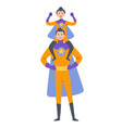 father and som playing superheroes dressed in vector image