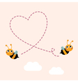 Flying bees making big love heart in the air vector image vector image
