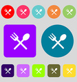 Fork and spoon crosswise Cutlery Eat icon sign 12 vector image vector image