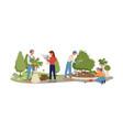 garden landscaping agriculture work on bushes vector image