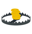 gold coins trap icon flat style vector image vector image