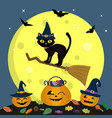 happy halloween the halloween cat in a witch s vector image