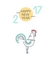 Happy New Year greeting card with rooster vector image vector image