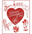 Happy valentines day - set vector image