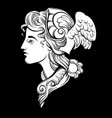 hermes hand drawn artwork with portrait vector image vector image
