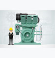 industrial engine machinery factory engineering vector image vector image