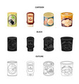isolated object of can and food symbol collection vector image vector image