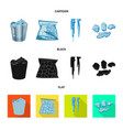 isolated object of texture and frozen logo set of vector image vector image