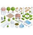 isometric icon set for construction beautiful city vector image