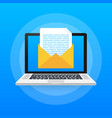 laptop with envelope and document on screen email vector image