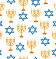 Menorah and Star of David seamless texture vector image vector image
