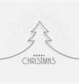 minimal line christmas tree background vector image