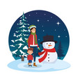 mother and son with christmas clothes in snowscape vector image vector image