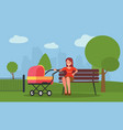 motherhood young mother sitting on a bench with a vector image