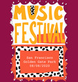 music festival poster template hand drawn vector image