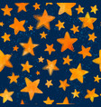 orange watercolor painted stars on blue background vector image vector image