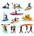 People In Extreme Water Sports Color Icons vector image