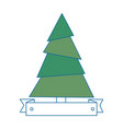 pine tree plant with ribbon vector image