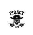 pirate skull in hat icon for piracy flag vector image vector image