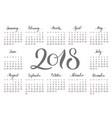 pocket calendar 2018 handdrawn lettering vector image vector image