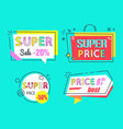 price 999 super sale best price 50 off set labels vector image