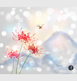 red chrysanthemum flowers dragonfly and blue vector image