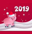 red colored postcard of new year pig vector image vector image