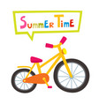 riding yellow bike isolated on white vector image vector image
