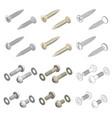 screws washers hardware isometric set vector image