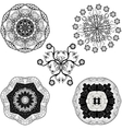 set from five black and white mandalas vector image vector image