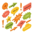 set isometric speech bubbles with text vector image